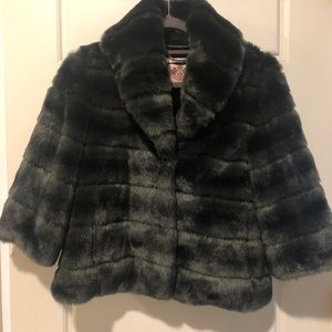 Juicy couture// dark gray faux fur coat